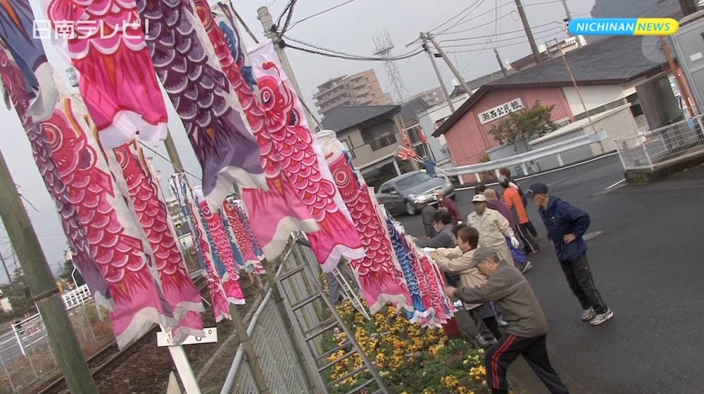 広島カープをミニ鯉のぼりで応援