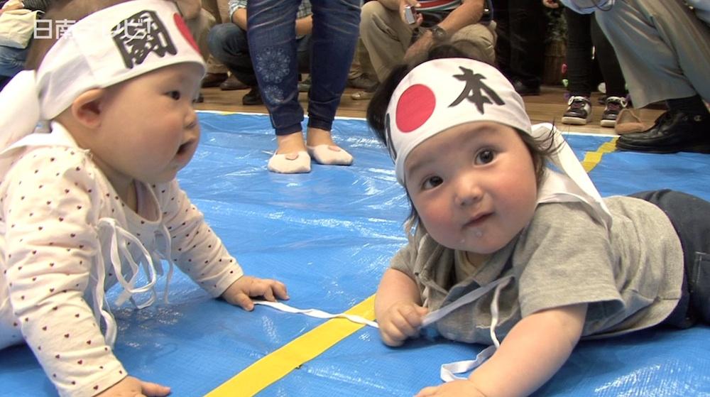 赤ちゃんハイハイ競争