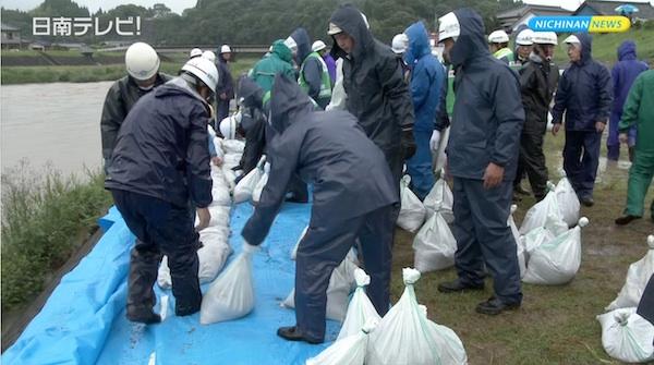 大雨洪水に備え水防訓練