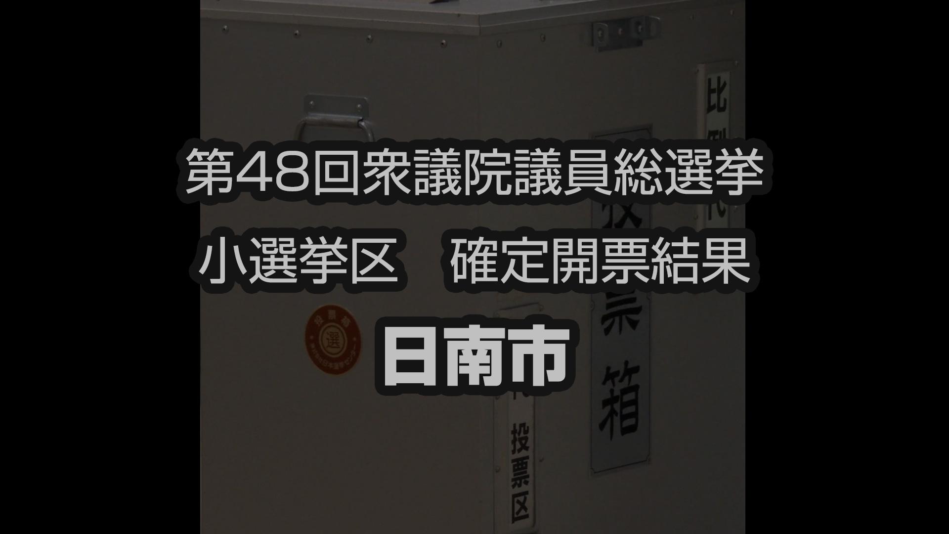 第48回衆院選 開票結果(小選挙区 日南市)
