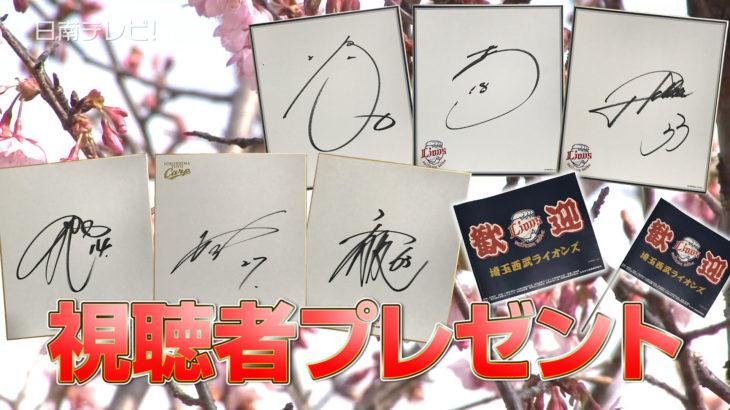 広島・西武 選手サイン色紙 視聴者プレゼント