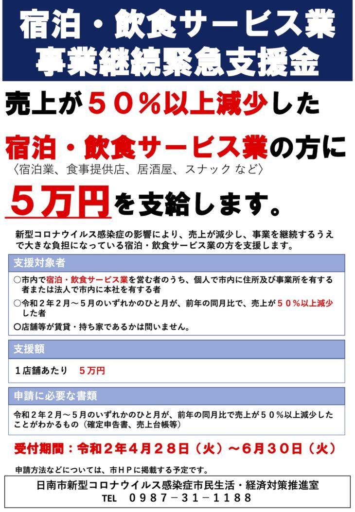 宿泊・飲食サービス業に5万円支給